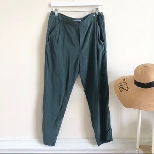 Grana green Chinese silk pleated pants large